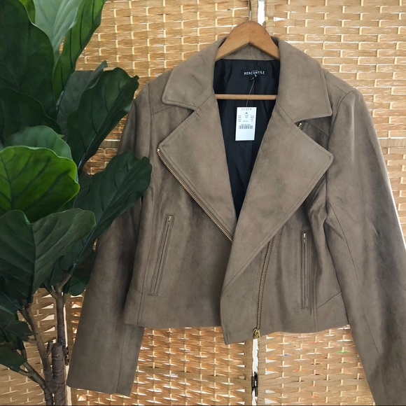 J. Crew Jackets & Blazers - Taupe Faux Suede Moto Motorcycle Jacket by J.Crew